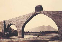 Imatge del S.XIX del Pont del Diable amb Montserrat al fons