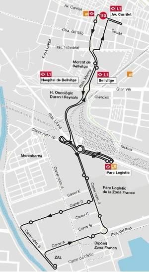 La línia 110 modifica el seu recorregut per enllaçar amb la L9 del metro