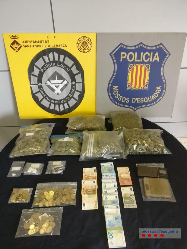 Material incautado en el registro de la entidad cannábica en Sant Andreu.