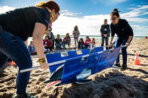 La recreación de un rescate del delfín que se llevó a cabo durante la jornada.
