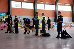 Exhibición de las unidades caninas de diferentes municipios catalanes durante la presentación del K-33 en Sant Esteve de Sesrovires.