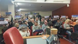 Una imagen de una protesta en el Pleno.