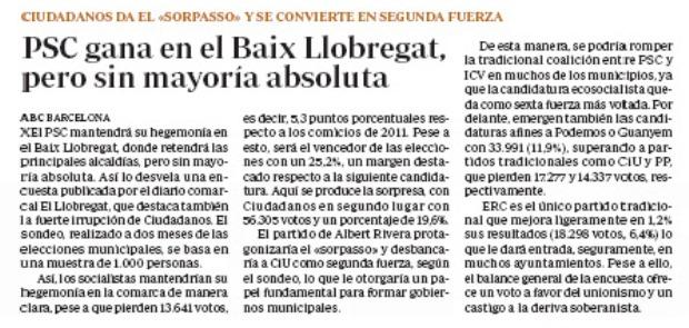 Articulo publicado en el diario ABC sobre la encuesta electoral realizada por EL LLOBREGAT