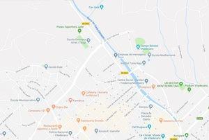 Mapa de Viladecans atravesado por una de sus arterias principales, la BV-2003.