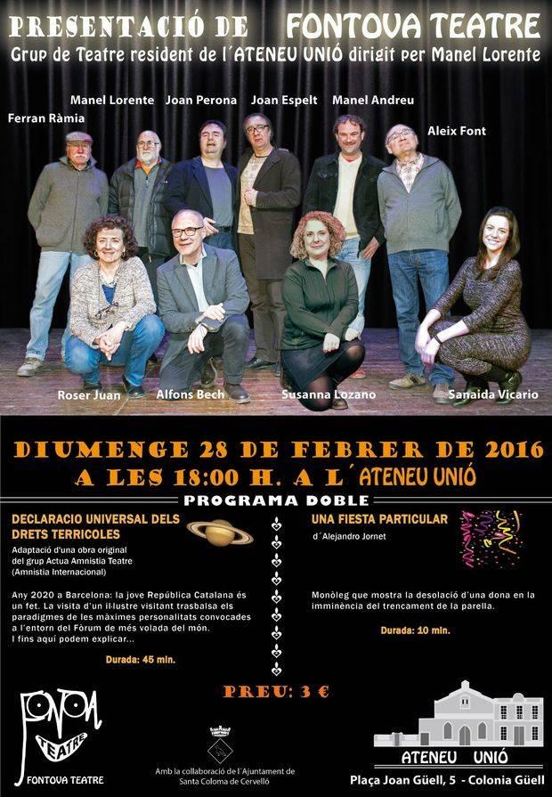 El Grup de Teatre resident de l'Ateneu d'Unió, dirigit per Manel Lorente, presenta Fontova Teatre