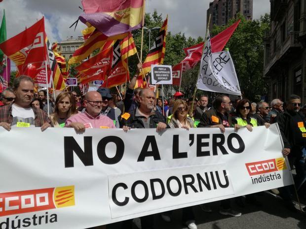 Los trabajadores de Codorniu se manifiestan en contra del ERE.