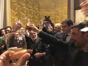 Los miembros de la candidatura celebraron la victoria ayer noche.