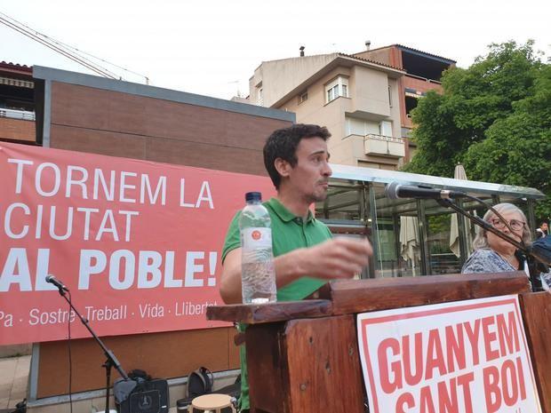 Geraldes, en un acto de campaña de Guanyem Sant Boi, la candidatura con que se presentó a las municipales.