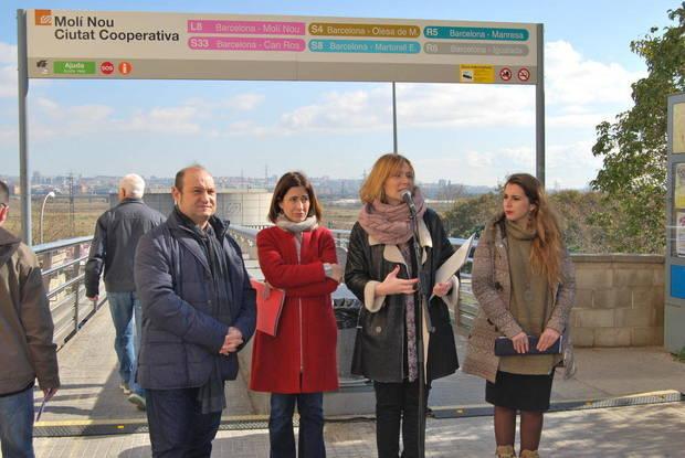 Los cuatro ayuntamientos organizaron un primer acto conjunto justo después de la inauguración de la L9 del Metro, en febrero de 2016
