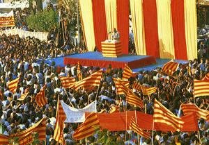 Imatge d'arxiu de la Diada Nacional de 1976 a Sant Boi