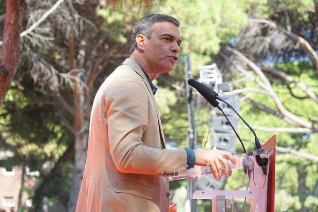El presidente en funciones Pedro Sánchez durante su discurso.