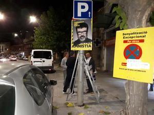 Uno de los carteles que desapareció ayer.