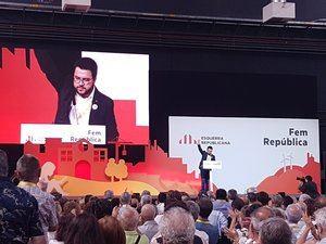 El vicepresidente de la Generalitat Pere Aragonès durante su intervención en la conferencia.