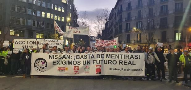 Más de un millar de trabajadores de Nissan marcharon por Barcelona la semana pasada.