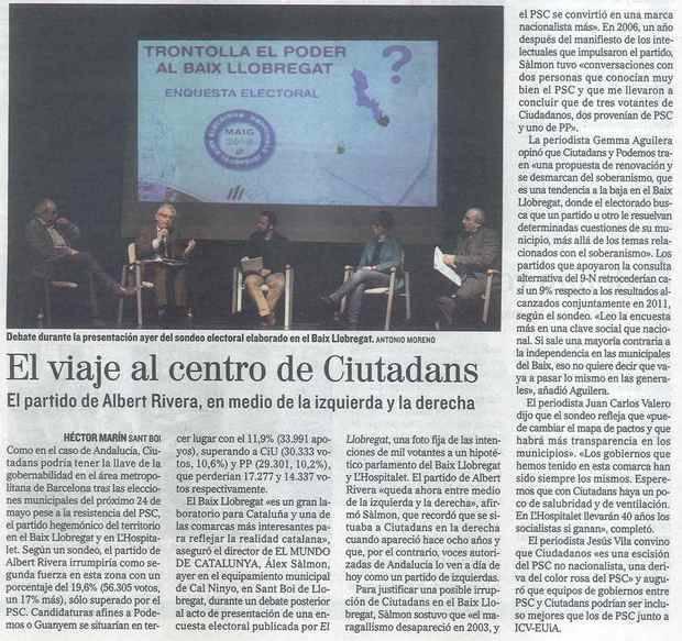 Articulo publicado en el diario EL MUNDO sobre la encuesta electoral realizada por EL LLOBREGAT