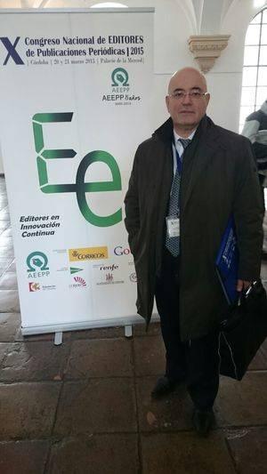 El editor de El Llobregat, Xavier Pérez Llorca, en la apertura del X Congreso de Editores de la AEEPP