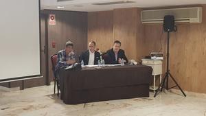 Panelo, Moreno y Viñas durante la presentación de El Llobregat Open Chess