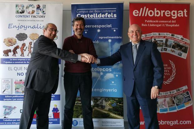 De izquierda a derecha: Juan Carlos Valero, editor ejecutivo de El Llobregat; José M. Yúfera, delegado del Rector de la UPC en el Campus del Baix Llobregat, y Xavier Pérez Llorca, gerente de El Llobregat.