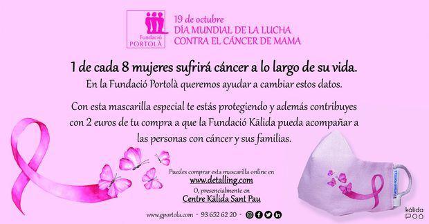 La Fundació Portolà colabora con la lucha contra el cáncer de mama con una mascarilla