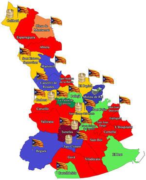 L'independentisme conquesta la meitat dels municipis del Baix, que només representa un quart de la població