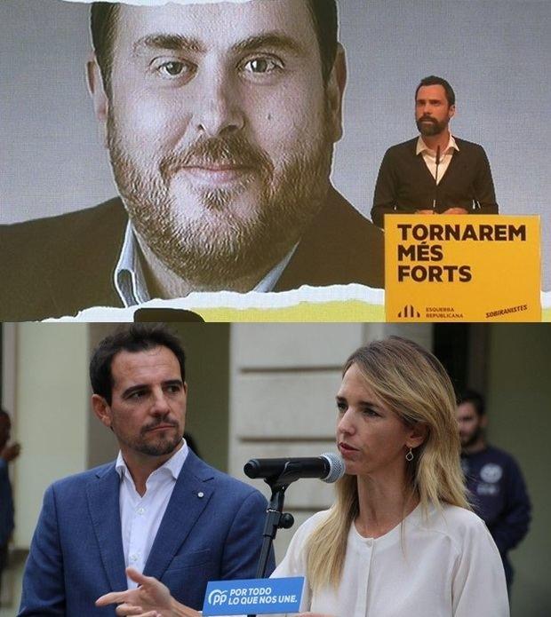 Roger Torrent -arriba- en el penúltimo acto de campaña de ERC, en L'Hospitalet, y Manuel Reyes y Cayetana Álvarez de Toledo -abajo- este jueves en Castelldefels