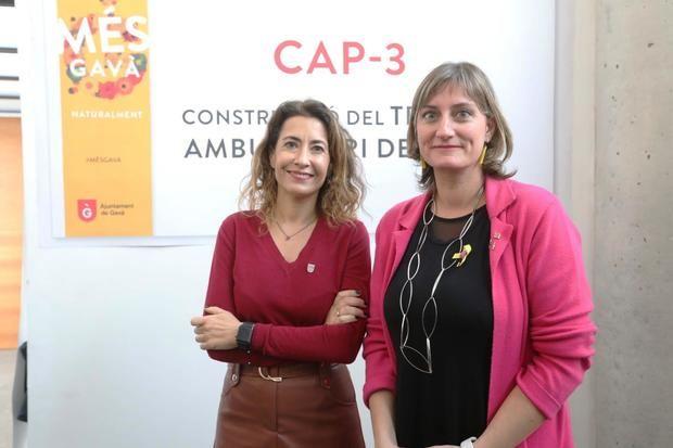 Raquel Sánchez y Alba Vergés durante la presentación, este jueves, del CAP 3 en Gavà