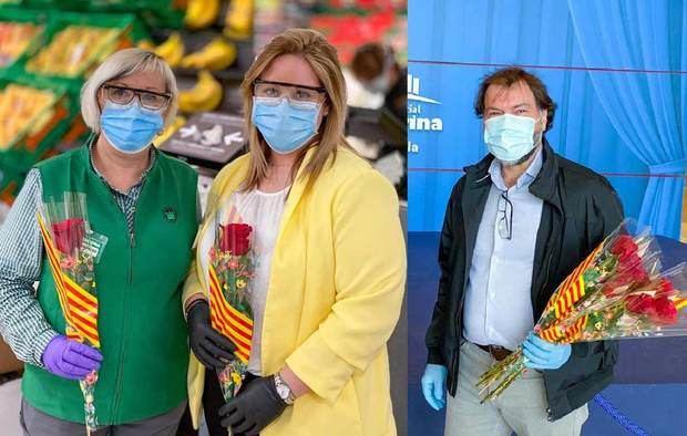 Sant Jordi no falta a su cita y reparte rosas a los empleados de Vilamarina pese al coronavirus