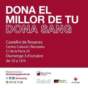 El Banco de Sangre visitará Castellví de Rosanes el próximo 3 de octubre