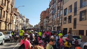 Ciclistas participando en el paseo en bicicleta contra el cambio climático este 29 de septiembre