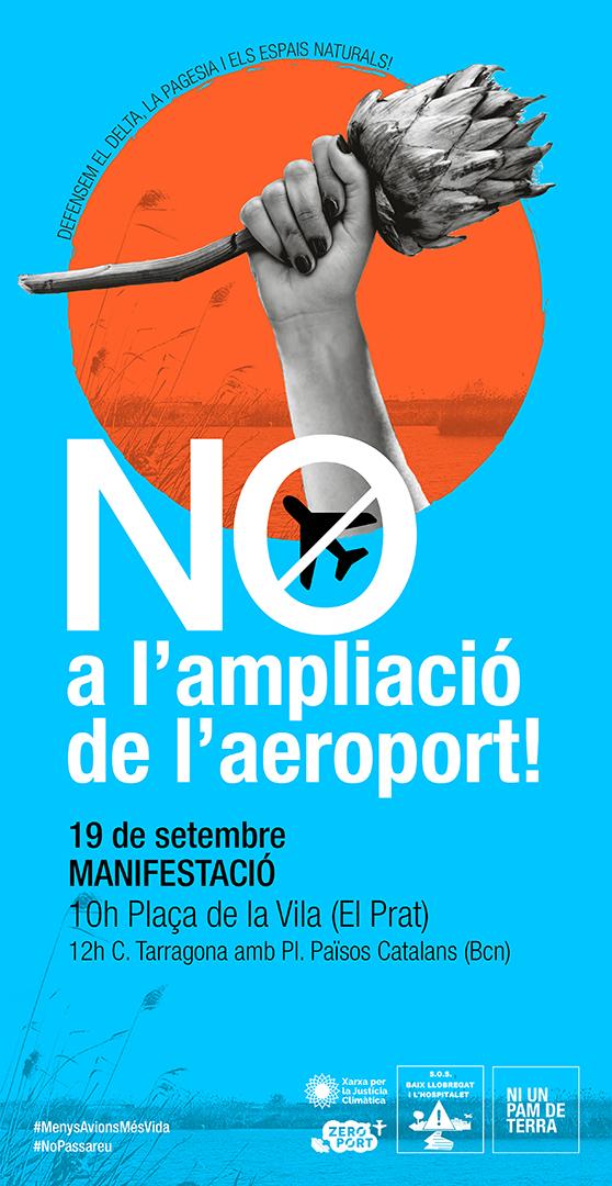 Convocada una gran manifestación el próximo 19 de septiembre en El Prat contra la ampliación del aeropuerto