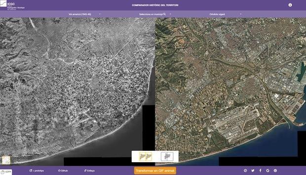 La comarca a mitades de los años 40 (izquierda) y actualmente (derecha).