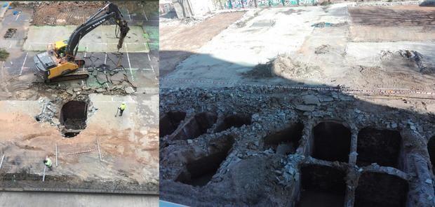 El antes y el después: a la izquierda, una de las galerías que aparecieron a principios de diciembre, enviada por un vecino a esta publicación; a la derecha, estado actual del terreno (Stop Massificació Cosme Toda).