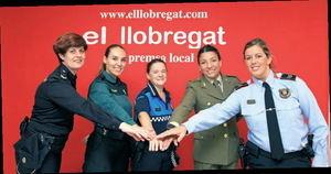 De izquierda a derecha: Policía Nacional, Guardia Civil, Guardia Municipal de Castellví, Ejército y Mossos.