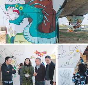 L'AMB i Sant Joan Despí pinten un mural artístic al viaducte de l'AVE
