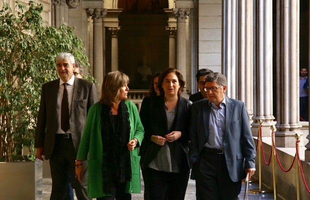Marín, Colau y Tejedor antes de la presenteción de la Estrategia Delta.