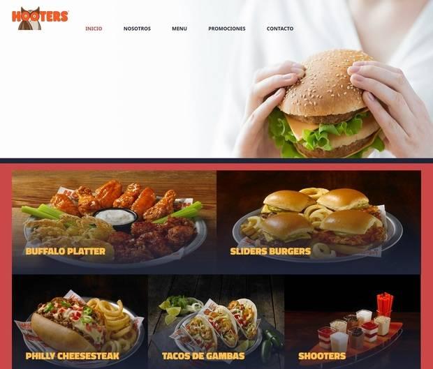 Portada de la web de Hooters Castelldefels