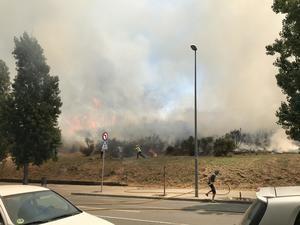 Un fuego descontrolado quema en el Parc de la Muntanyeta