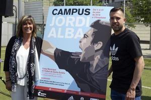 Marín y Alba durante la presentación del campus del representante local en la selección española de futbol.