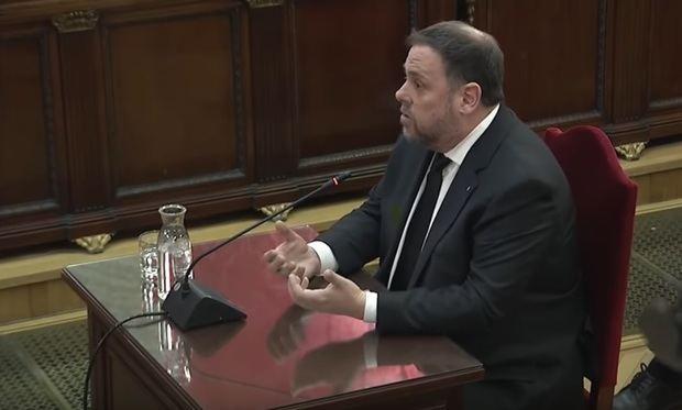 Oriol Junqueras durante su declaración.