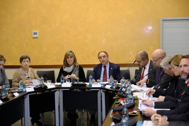 De izquierda a derecha: Teresa Cunillera, Núria Marín, José Castro y Miquel Buch, durante la Junta Local de Seguridad de L'Hospitalet celebrada este lunes