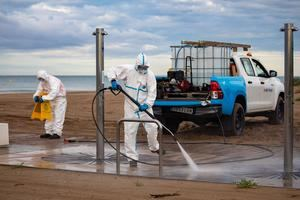 Máxima desinfección contra el covid-19 en las playas metropolitanas con el inicio de la Fase 2