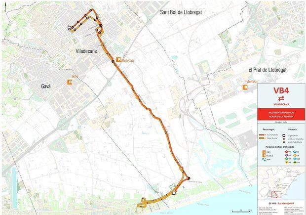 Recorrido de la línea  VB4 entre el núcleo urbano y las playas de Viladecans.