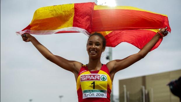 María vicente en el Campeonato Europeo de atletismo sub-18.