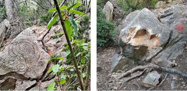 Destrozado el mítico petroglifo neolítico de la cumbre del Montpedrós en Santa Coloma de Cervelló