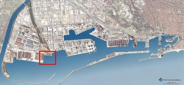 Marcado en el mapa el lugar de actuación en la zona del Puerto en El Prat.