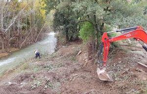 La Agencia Catalana del Agua trabaja para retirar vegetación acumulada en el cauce del Llobregat por los temporales