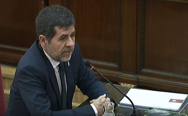 El expresidente de la ANC, Jordi Sánchez, durante el interrogatorio.