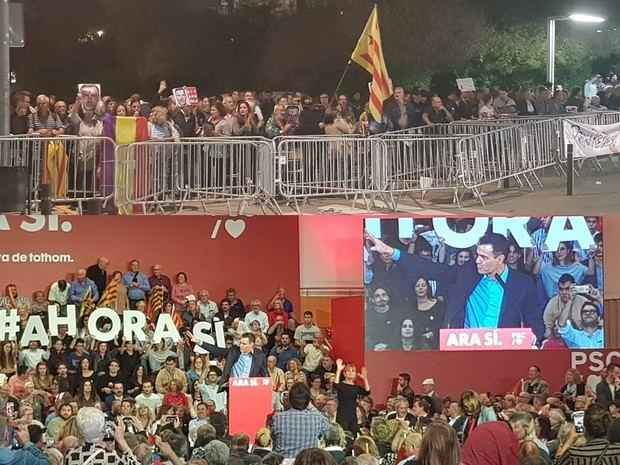 La protesta convocada por PícnicxRepública y CDR ante el Cubic de Viladecans -arriba- y el primer acto en clave electoral de Pedro Sánchez en Cataluña -abajo-