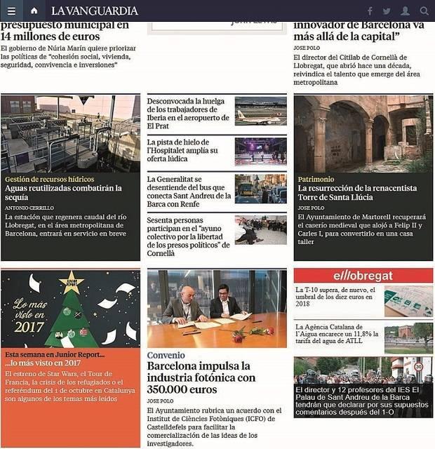 El Llobregat, en la edición digital de La Vanguardia