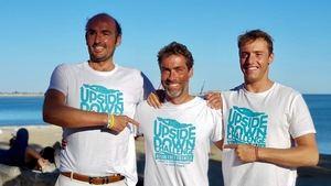 De derecha a izquierda,  Xavi García Tort, Daniel Rossinés y Jaime Caballero, que ha participado en el reto ELA en las últimas tres etapas